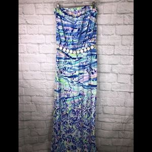 Lilly Pulitzer Mika Maxi Long Dress Strapless Blue